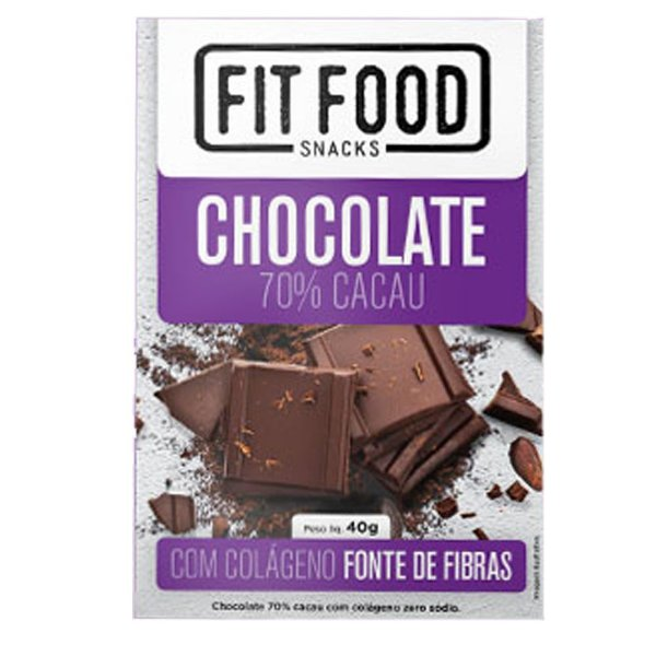 Chocolate 70% cacau com Colágeno Fit Food