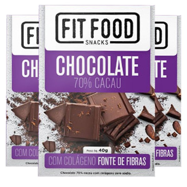 Kit 3 Chocolate 70% cacau com Colágeno Fit Food
