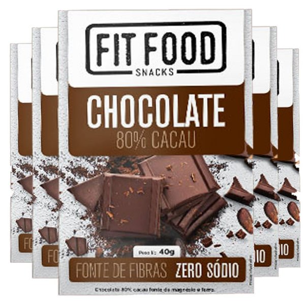 kit 5 Chocolate 80% Cacau Fit Food