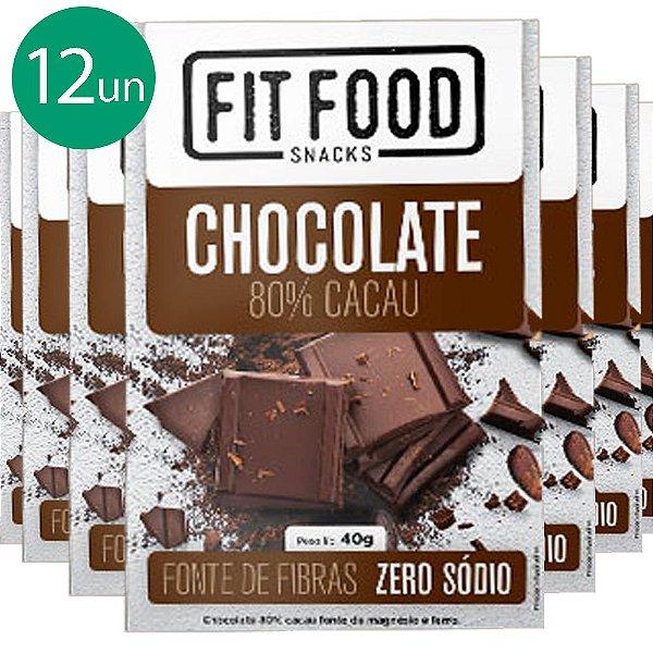 kit 12 Chocolate 80% Cacau Fit Food