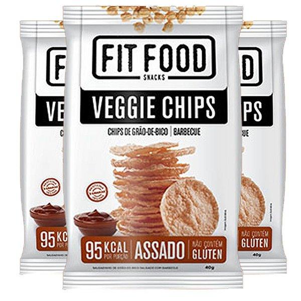 Kit 3 Veggie Chips Grão De Bico Sabor Barbecue 40g Fit Food