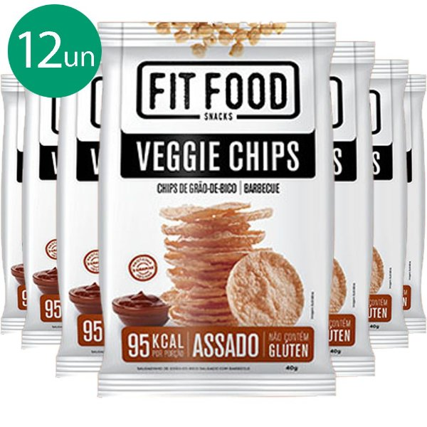 Kit 12 Veggie Chips Grão De Bico Sabor Barbecue 40g Fit Food