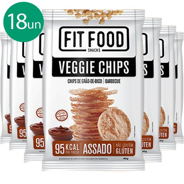 Kit 18 Veggie Chips Grão De Bico Sabor Barbecue 40g Fit Food