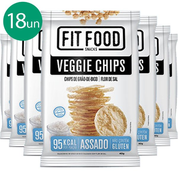 Kit 18 Veggie Chips Grão De Bico Salgado 40g Fit Food
