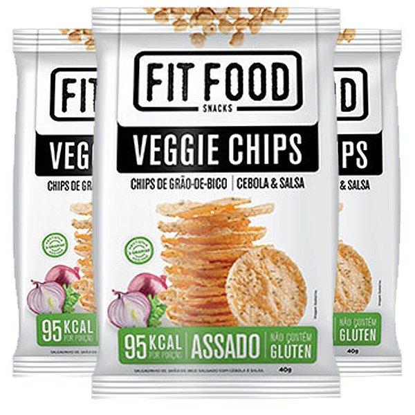 Kit 3 Veggie Chips Grão De Bico Sabor Cebola e Salsa 40g Fit Food