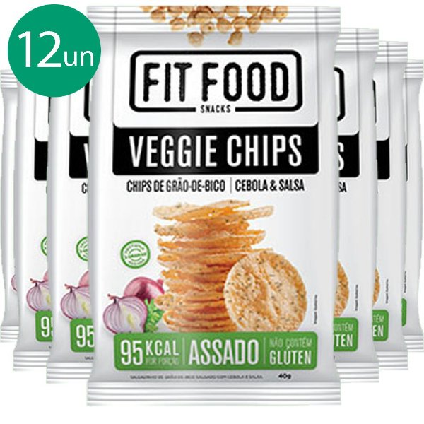 Kit 12 Veggie Chips Grão De Bico Sabor Cebola e Salsa 40g Fit Food