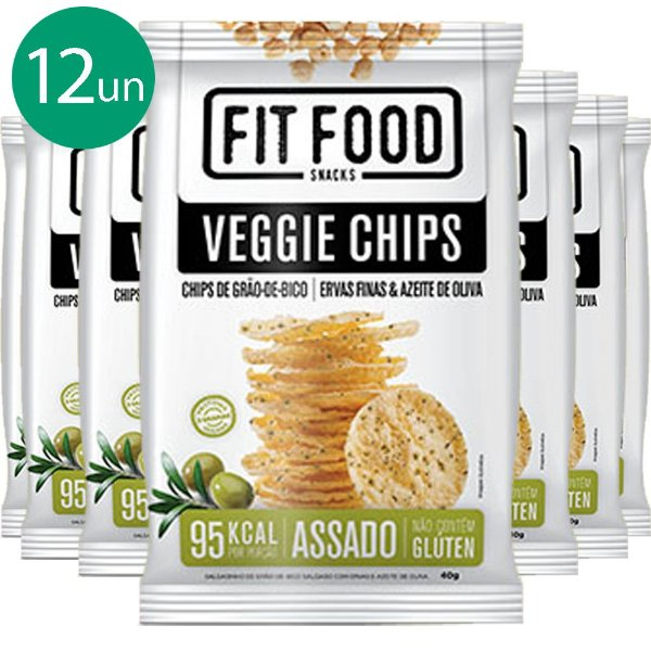 Kit 12 Veggie Chips Grão De Bico Sabor Ervas Finas 40g Fit Food