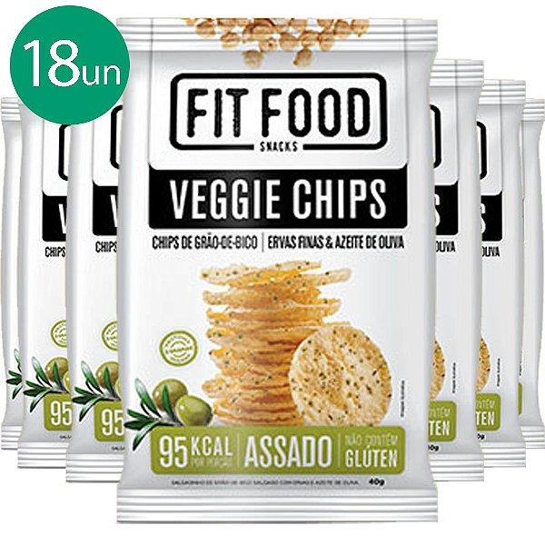 Kit 18 Veggie Chips Grão De Bico Sabor Ervas Finas 40g Fit Food