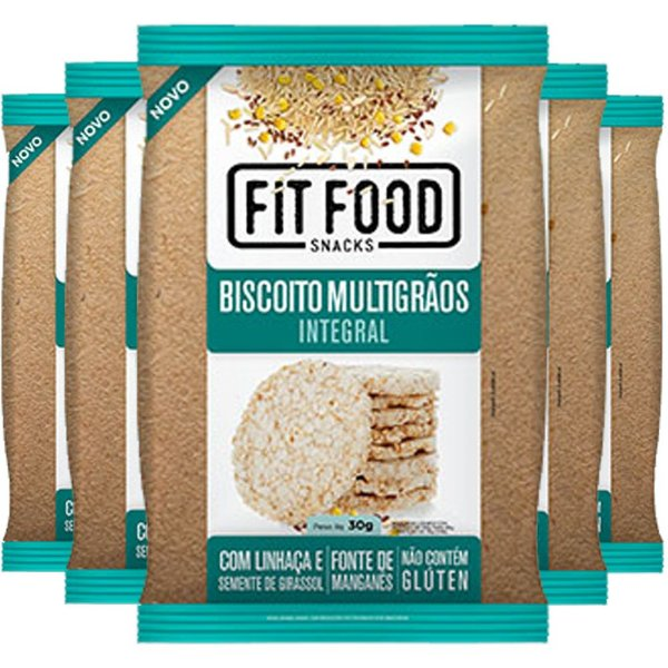 Kit 5 Biscoito de Arroz Multigrãos 30g Fit food