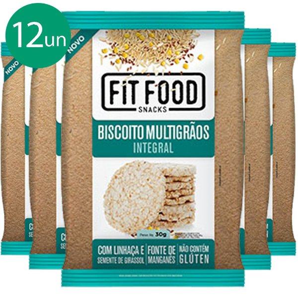 Kit 12 Biscoito de Arroz Multigrãos 30g Fit food