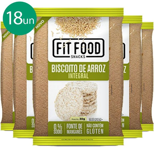 Kit 18 Biscoito de Arroz Natural 30g Fit food