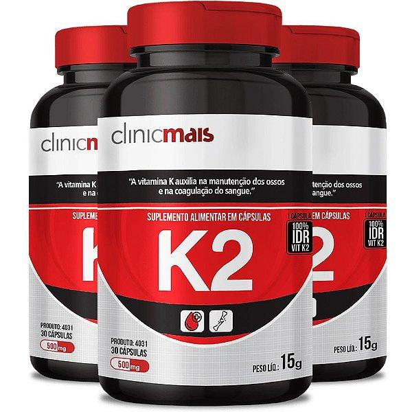 Kit 3 Suplemento de Vitamina K2 30 cápsulas Clinicmais