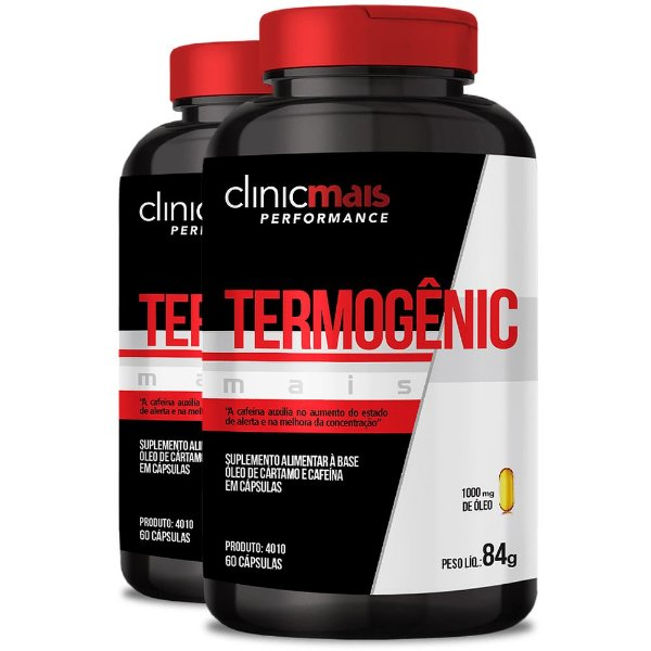 Kit 2 Termogênico Mais Cártamo + Cafeína 60 cápsulas Clinicmais