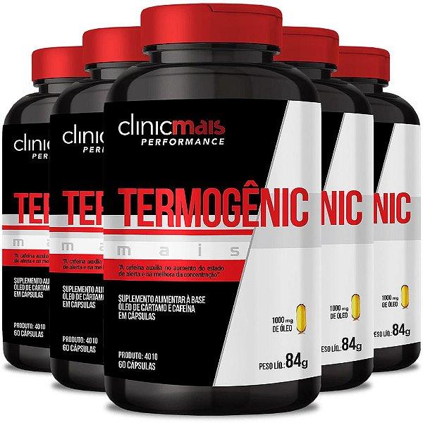 Kit 5 Termogênico Mais Cártamo + Cafeína 60 cápsulas Clinicmais