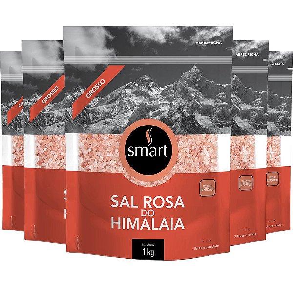 Kit 5 Sal rosa do himalaia grosso SMART 1kg