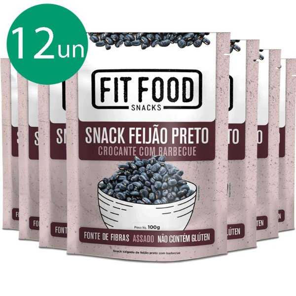 Kit 12 Snack Feijão Preto Barbecue Fit Food 100g