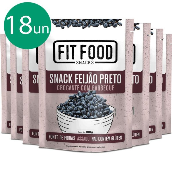 Kit 18 Snack Feijão Preto Barbecue Fit Food 100g