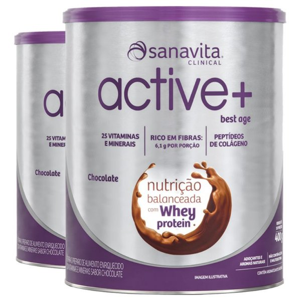 Kit 2 ACTIVE+ Best Age chocolate 400g Sanavita