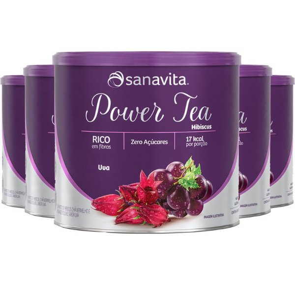 Kit 5 Power Tea Chá Hibiscus Uva 200g Sanavita