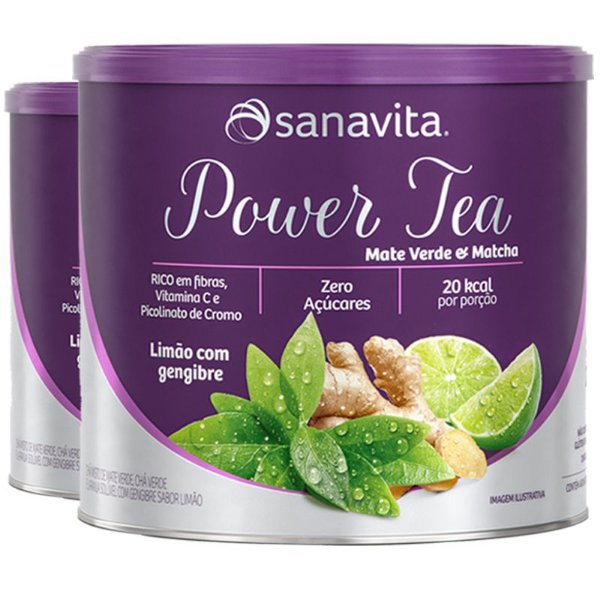 Kit 2 Power Tea Mate Verde & Matchá limão com gengibre 200g Sanavita