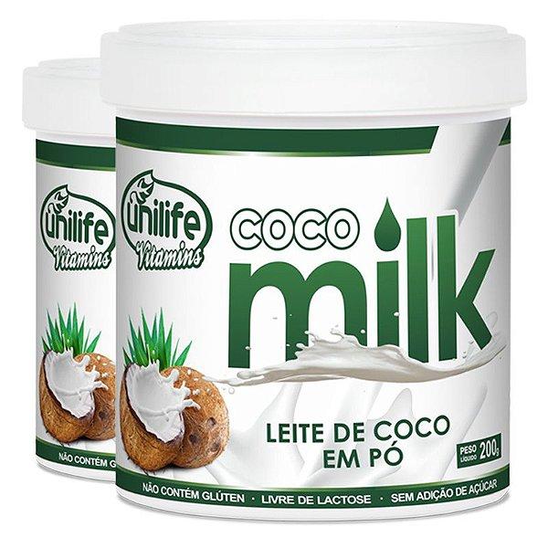 Kit 2 Leite de coco em pó Coco Milk 200g Unilife Vitamins