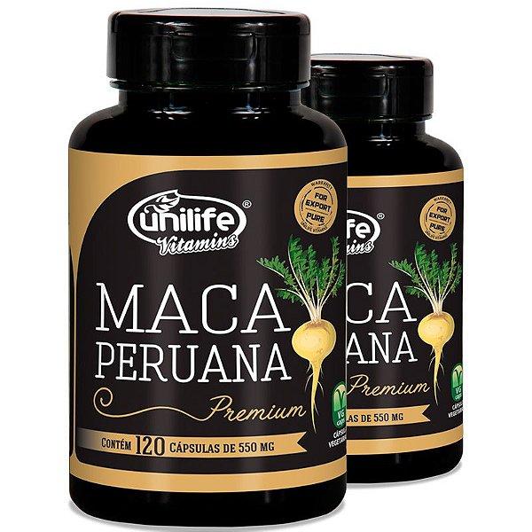 Kit 2 Maca Peruana Premium 550mg Unilife 120 capsulas