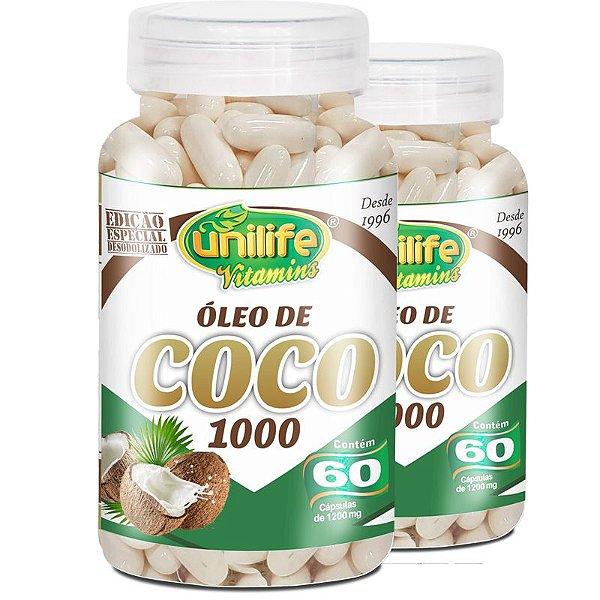Kit 2 Óleo de Coco Extra Virgem 1200mg Unilife 60 cápsulas