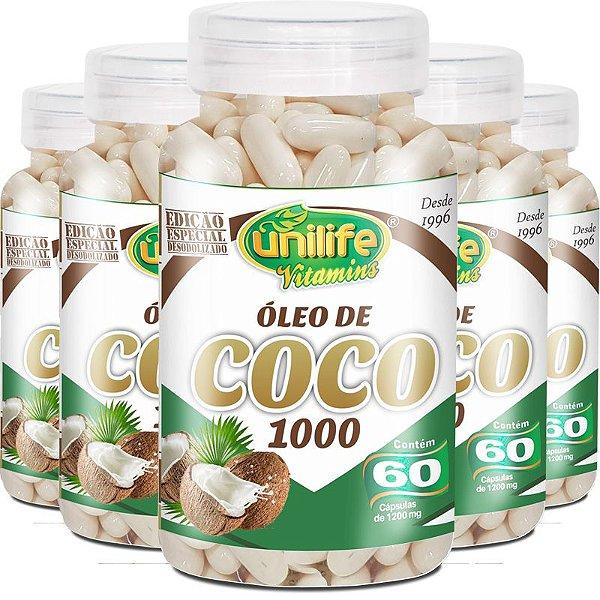 Kit 5 Óleo de coco extra virgem 1200mg Unilife 60 cápsulas