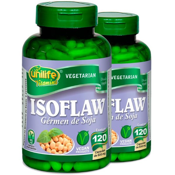 Kit 2 Isoflavona Germen de Soja 120 Cápsulas Unilife