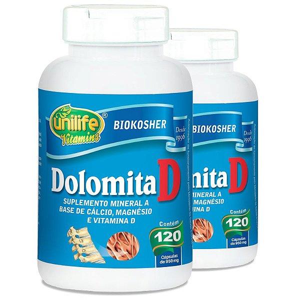 Kit 2 Dolomita com Vitamina D Unilife 120 cápsulas