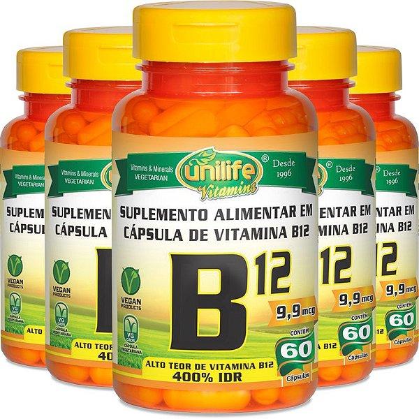 Kit 5 Vitamina B12 Cobalamina Unilife 60 cápsulas