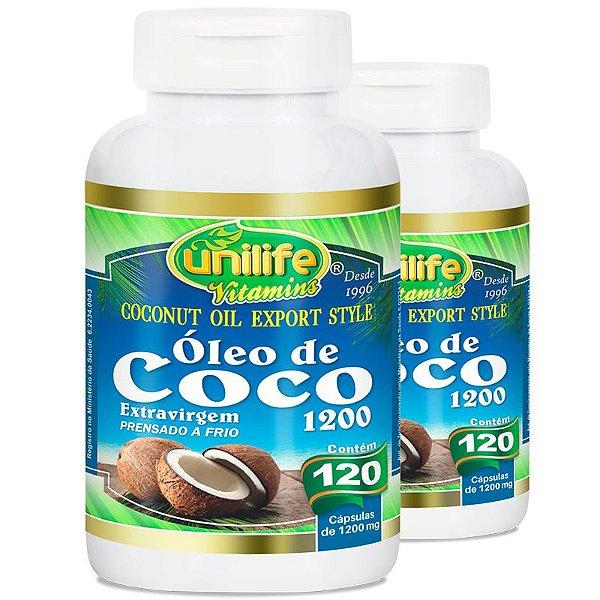 Kit 2 Óleo de Coco Extra Virgem 120 cápsulas Unilife