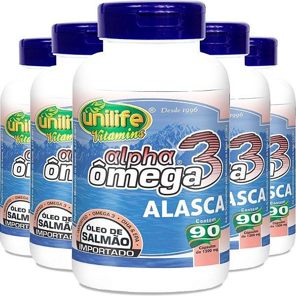 Kit 5 Ômega 3 Alpha Óleo de Salmão 1200mg 90 cápsulas Unilife