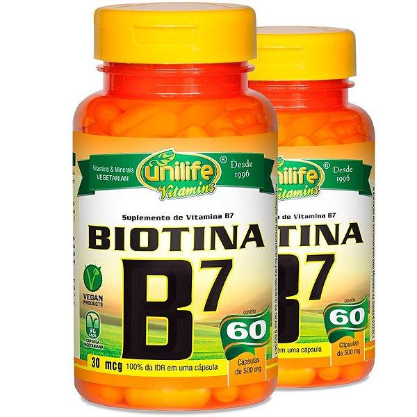 Kit 2 Vitamina B7 Biotina 60 cápsulas Unilife
