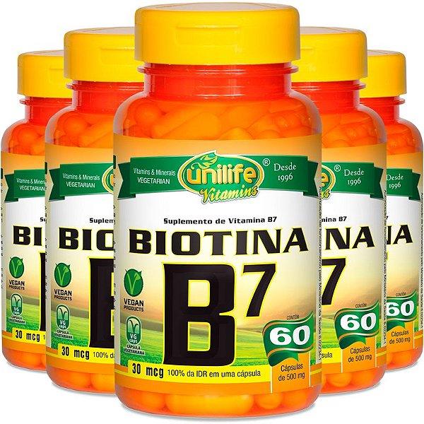 Kit 5 Vitamina B7 Biotina 60 cápsulas Unilife