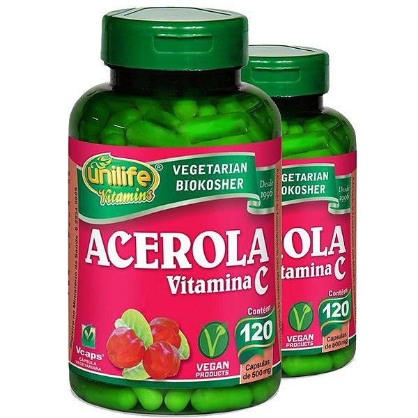 Kit 2 Acerola Vitamina C 120 cápsulas Unilife