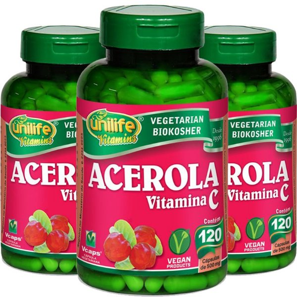 Kit 3 Acerola Vitamina C 120 cápsulas Unilife