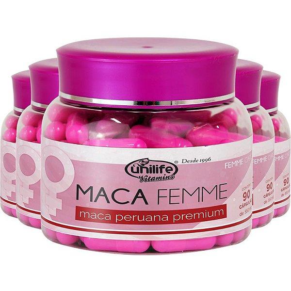 Kit 5 Maca Femme 560mg Maca Premium Unilife 90 Cápsulas