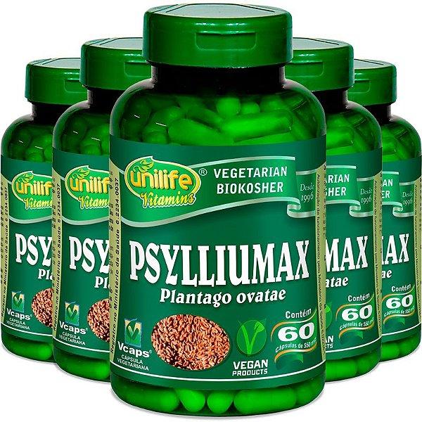 Kit 5 Psyllium Unilife Psylliumax 60 cápsulas