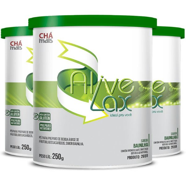 Kit 3 Alive Lax laxante natural a base de fibras Chá mais 250g