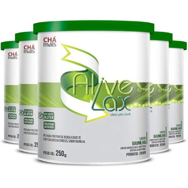Kit 5 Alive Lax laxante natural a base de fibras Chá mais 250g