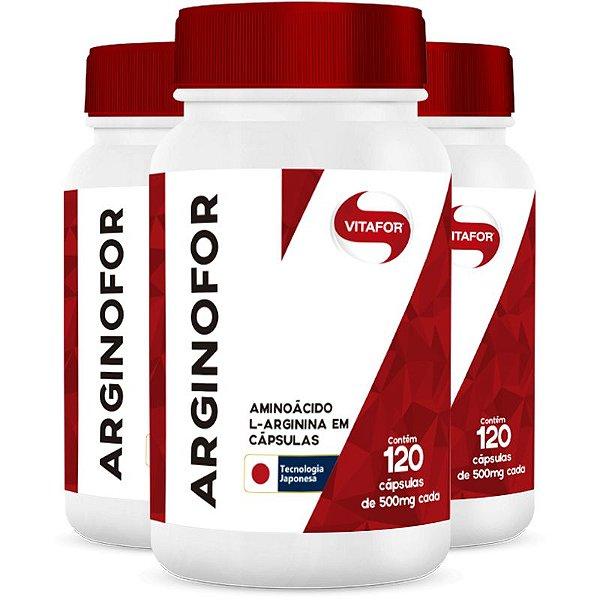 Kit com 3 Arginina Arginofor de 120 Cápsulas da Vitafor