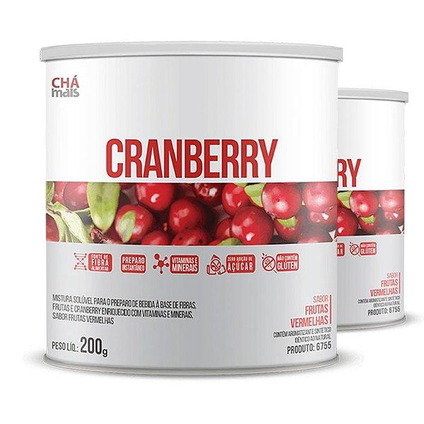 Kit com 2 Cranberry Solúvel 200g da Chá Mais Sabor Frutas Vermelhas