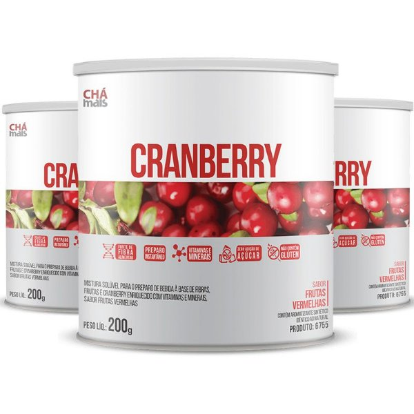Kit com 3 Cranberry Solúvel 200g da Chá Mais Sabor Frutas Vermelhas