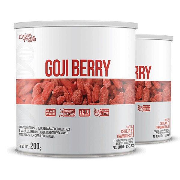 Kit com 2 Goji Berry Solúvel 200g da Chá Mais Sabor Cereja e Framboesa