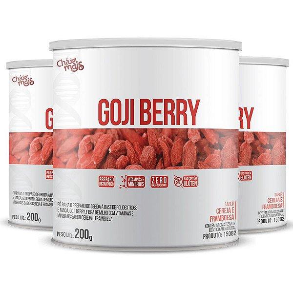 Kit com 3 Goji Berry Solúvel 200g da Chá Mais Sabor Cereja e Framboesa