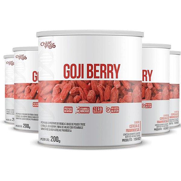Kit com 5 Goji Berry Solúvel 200g da Chá Mais Sabor Cereja e Framboesa