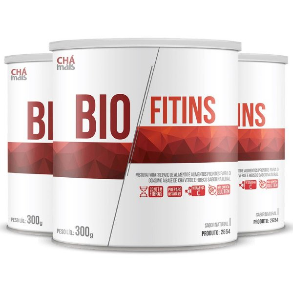 Kit com 3 BioFitins Solúvel 200g da Chá Mais Sabor Natural