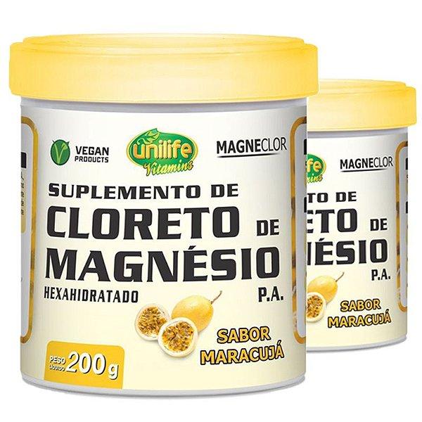 Kit 2 Cloreto de Magnésio Hexahidratado P.A Unilife 200g maracujá