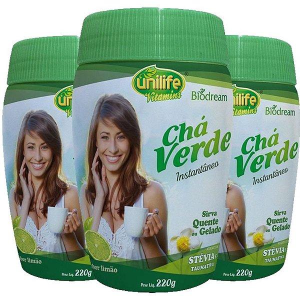 Kit 3 Chá verde Sóluvel 220g sabor Limão Unilife